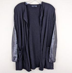 Noir   Black Leather Sleeve Cardigan - E85